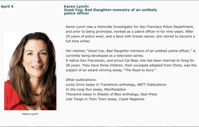 "April 4: Karen Lynch, ""Good Cop, Bad Daughter: memoirs of an unlikely police officer"