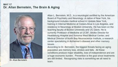 MAY 17 Dr. Allan Bernstein, The Brain & Aging