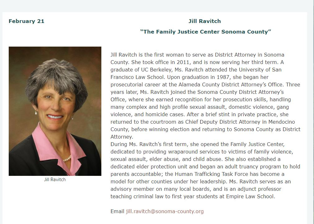 "Feb. 21 Jill Ravitch   ""The Family Justice Center Sonoma County"""