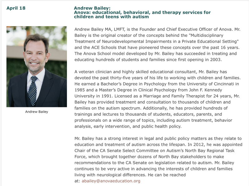 April 18: Andrew Bailey: Anova-educational, behavioral, and therapy services for children and teens with autism