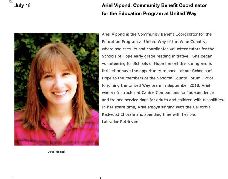 July 18: Ariel Vipond, Community Benefit Coordinator for the Education Program at United Way.