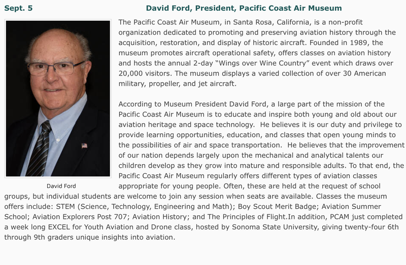 Sept. 5 Speaker: David Ford, President of the Pacific Coast Air Museum