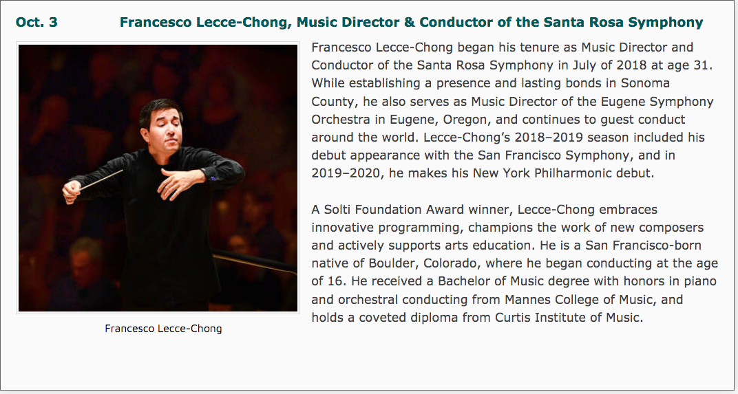 Oct.3: Francesco Lecce-Chong, Music Director & Conductor of the Santa Rosa Symphony