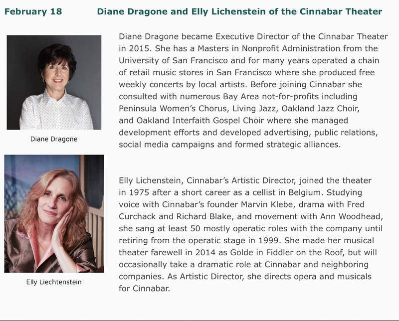 Photos of Feb. 18 Forum Speakers: Diane Dragone and Elly Lichenstein of the Cinnabar Theater with bios.