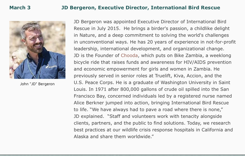 Photo of JD Bergeron and description of International Bird Rescue.