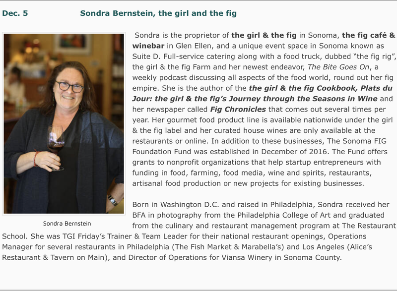 Photo and description of the Dec. 5 program with Sondra Bernstein, proprietor of the girl and the fig.